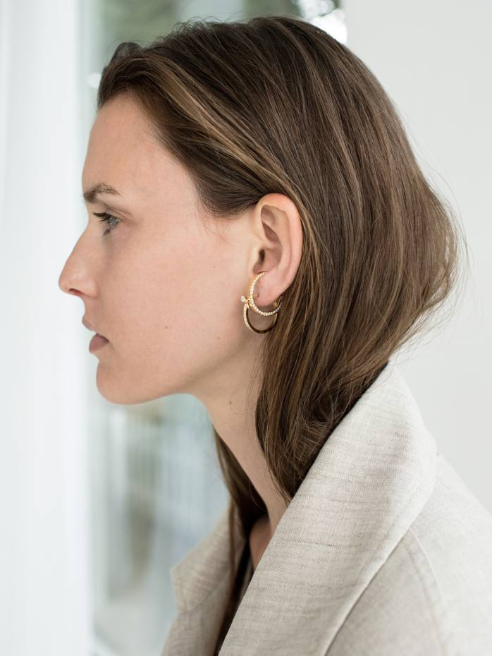 Ina Beissner gold and diamond Lua mono ear cuff, €2,865, and gold and pavé-diamond Chikka hoop earrings, €4,000