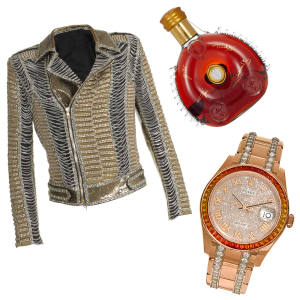 From left: Balmain chainmail jacket, £24,990. Rolex Sapphire Pearlmaster 39mm, price on request