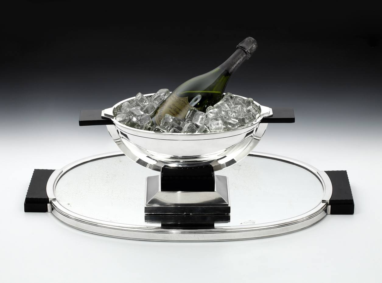 Tétard Frères 1930s silver and ebony cooler and tray, sold by Pullman Gallery for £14,500