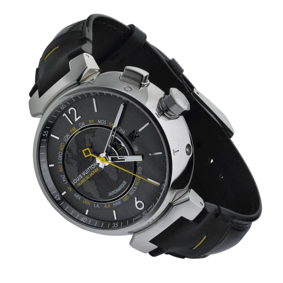 Louis Vuitton Tambour Heures du Monde watch in steel with alligator strap, £1,950. Also in grey