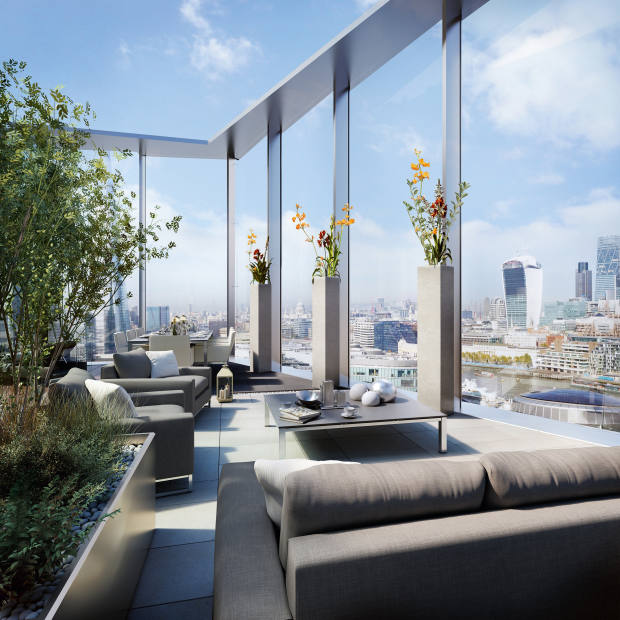 The roof terrace in the Berkeley Homes One Tower Bridge triplex, London, £8.5m through Knight Frank
