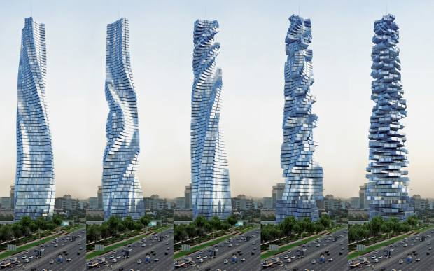 The proposed Dynamic Tower designed by David Fisher hasfloor levels that rotate independently of one another so that the building is constantly changing shape and looking out todifferent vistas