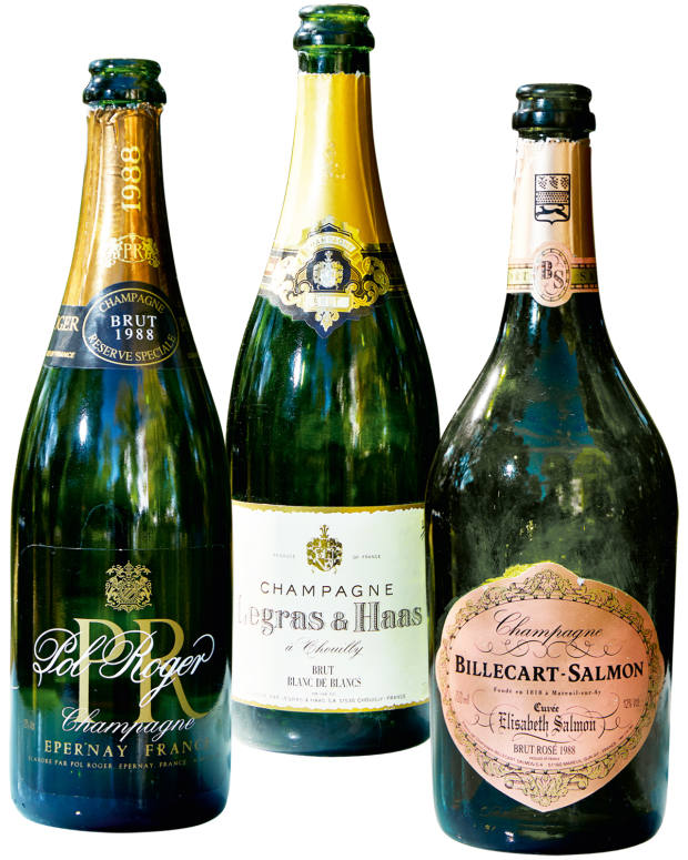 From left: 1988 Pol Roger Cuvée PR, £400. 1988 Legras & Haas – supplied directly from the maison and not for sale. 1988 Billecart-Salmon Elizabeth, £350-£375