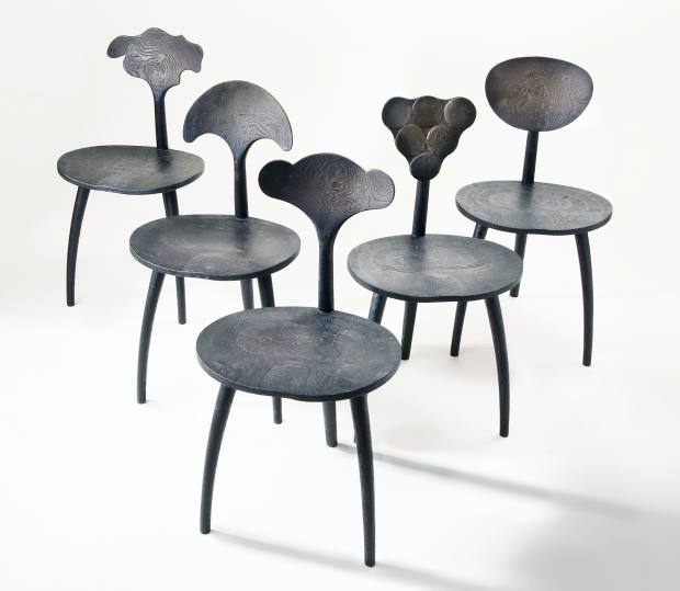 John Makepeace oak Black Trine Variations chairs, £14,400, from Sarah Myerscough Gallery