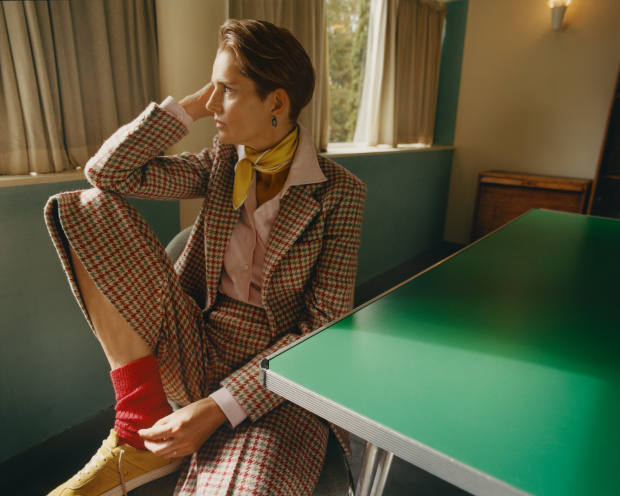 Holland & Holland wool jacket, £1,250, matching culottes, £590, cashmere-mix shirt, £390, merino socks, £45, suede tennis shoes, £240, and silk scarf, £95.
