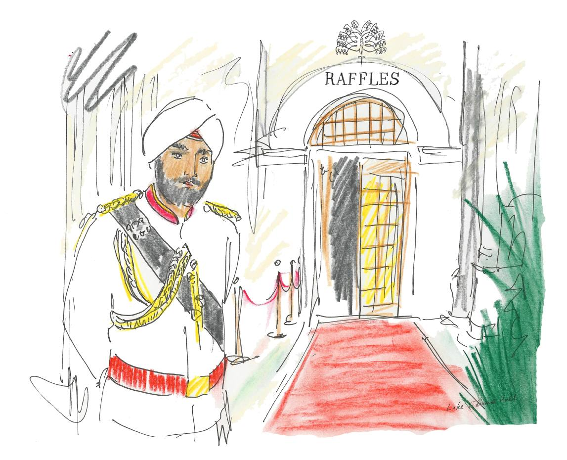 A doorman at the entrance to Raffles Singapore, as imagined by Luke Edward Hall