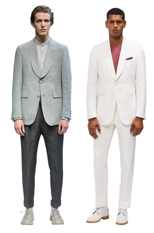 From left: Cerruti linen jacket, £750, cotton shirt, £130, and linen/wool trousers, £285. Gieves & Hawkes linen/silk jacket, £1,495, matching trousers, £395, and cotton T-shirt, £95