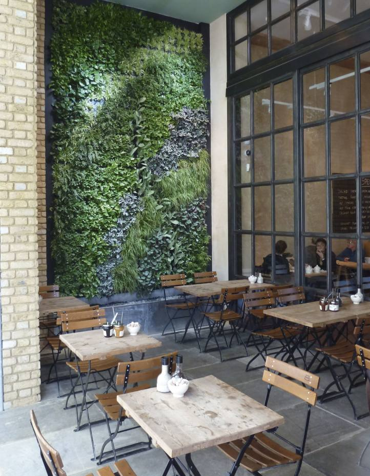 A Biotecture wall in Le Pain Quotidien, Westfield, London
