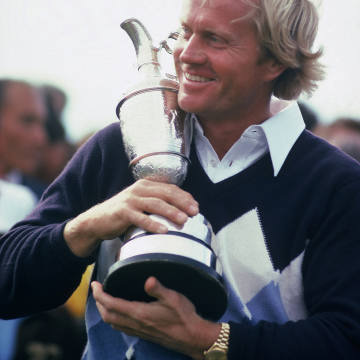 Nicklaus – with his Rolex gold Day-Date on his wrist – lifts the Claret Jug at the 1978 Open