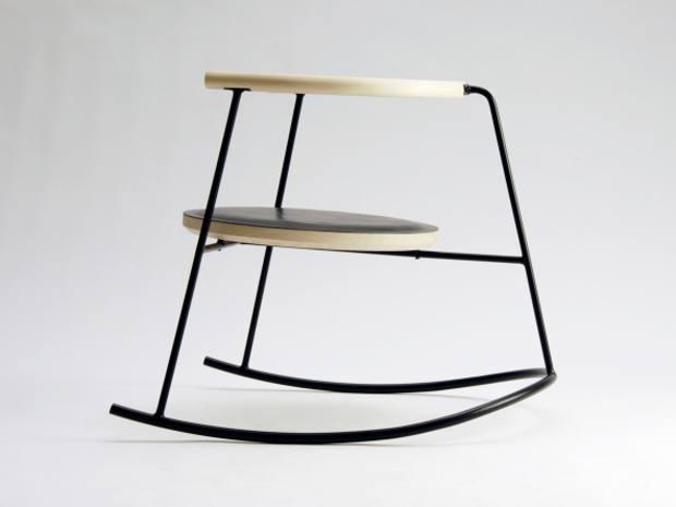 Rasmus Warberg leather and steel Nobu rocking chair (80cm x 80cm x 80cm), €2,150