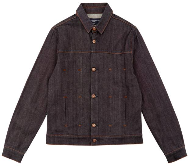 Wells Jacket Raw, £150, has a traditional silhouette but also subtle details such as gold-stitched decorative notches and industrial-looking buttons