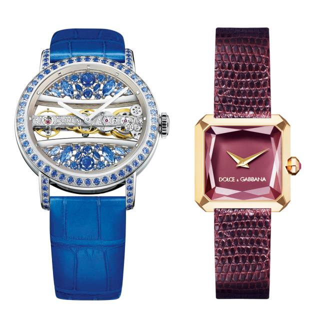 From left: Corum white‑gold and sapphire Golden Bridge, £77,500. Dolce & Gabbana rose-gold and ruby Sofia, £5,450