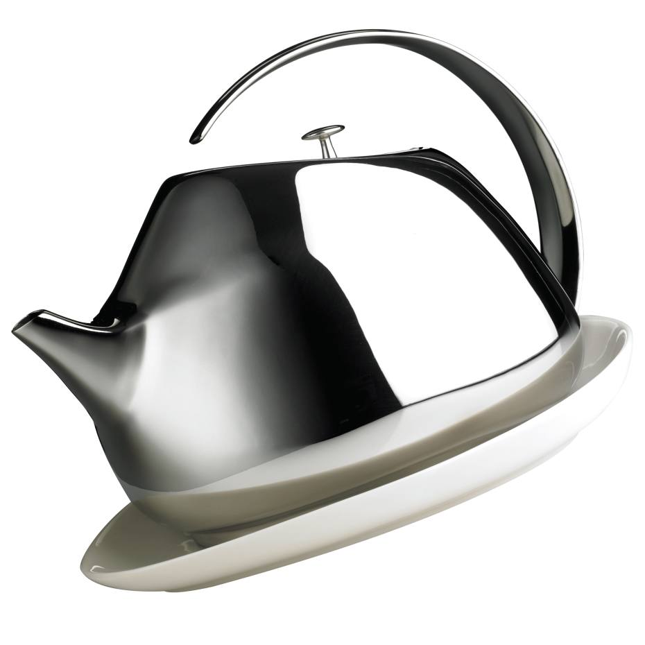 Georg Jensen Helena 1.3-litre teapot and coaster in stainless steel and porcelain, £140