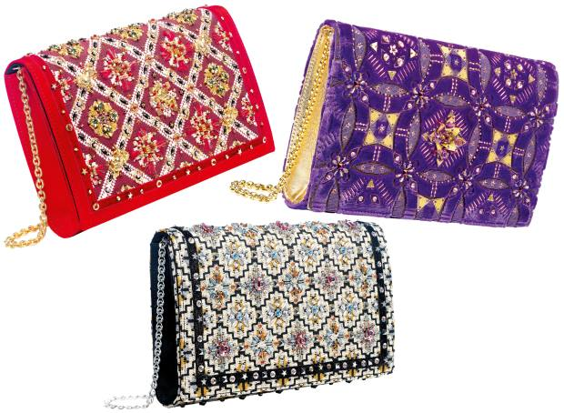 Clockwise from top left: Preciously Paris satin and horsehair #3 clutch, €4,625, silk-velvet #1 clutch, €6,575, and cotton-mix #8 clutch, €3,375