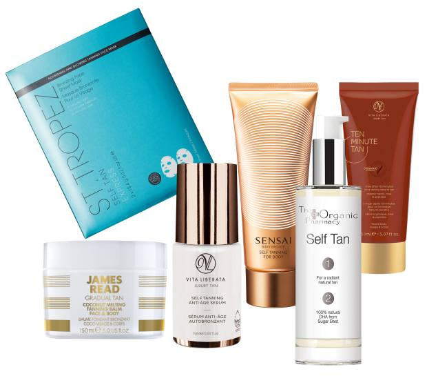 From top left to right: StTropez Express Bronzing FaceSheet Mask, £15 for twosheets. James Read TanCoconut Melting TanningBalm, £30 for £150ml. Vita Liberata Self Tanning Anti Age Serum, £29 for 15ml. Sensai Self Tanning for Body, £63 for 150ml. The Organic Pharmacy Self Tan, £37 for 100ml. Vita Liberata Ten Minute Tan, £30 for 150ml