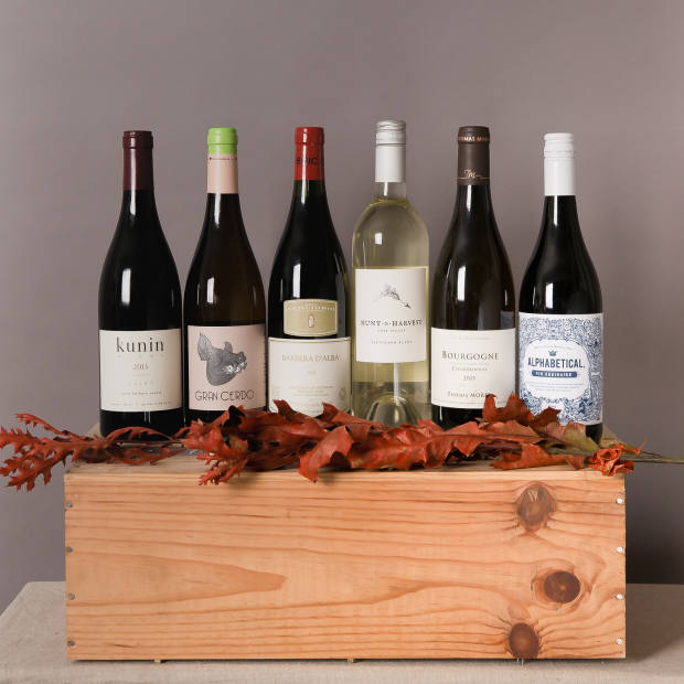 """Roberson Wine delivers a mixed case of six """"interesting"""" wines for £99 per quarter (example from December 2017's Wine Club selection)"""