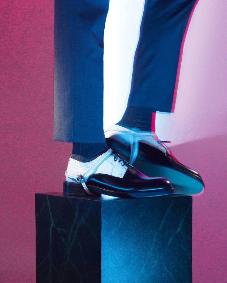 Lanvin calfskin Derbys, £1,330. The LondonSock Company cotton-mix socks, £12. Dolce & Gabbana virginwool suit, £2,350
