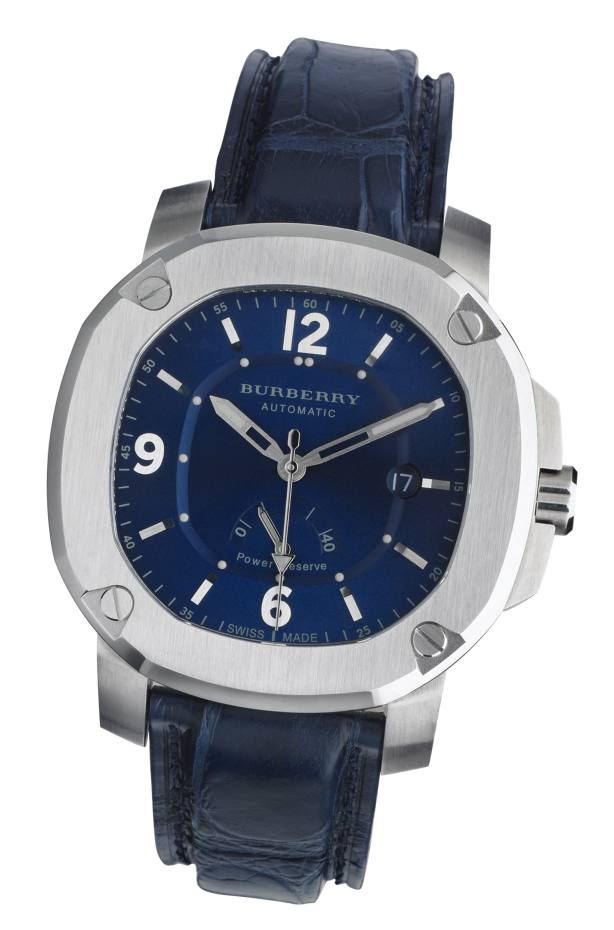 Burberry The Britain 47mm Automatic Power Reserve watch in stainless steel with alligator strap, £2,650. Also in other colours