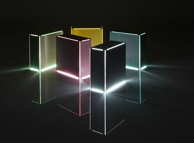 Minimalux steel Neon table lights, £125 each