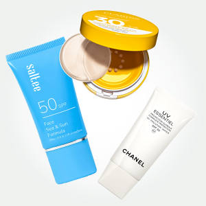 From left: Saltee Daily Protection SPF50 (£29 for 100ml), Clarins Mineral Sun Care Compact, UVA/UVB 30 (£27 for 100ml) and Chanel UV Essentiel Gel Creme, SPF50 (£46 for 50ml)