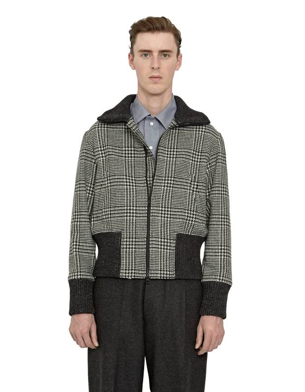 Wool/nylon urquhart-check bomber jacket, £649, cotton soft-collar shirt, £270, and wool terry trousers, £395
