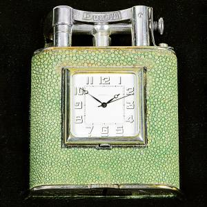 "c1935 Alfred Dunhill shagreen ""Giant"" clock/table lighter, £18,000 from Pullman Gallery"