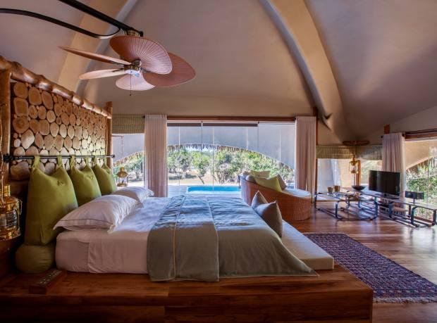 A luxury cabin at Chena Huts in Yala, Sri Lanka