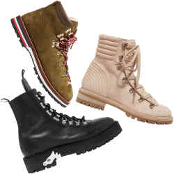 From top: Cheaney suede Penny Hiker boots, £295. Christian Louboutin suede boots, £1,145. Off-White leather boots, £655