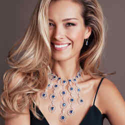 Chopard diamond and sapphire necklace with detachable tassels, matching earrings