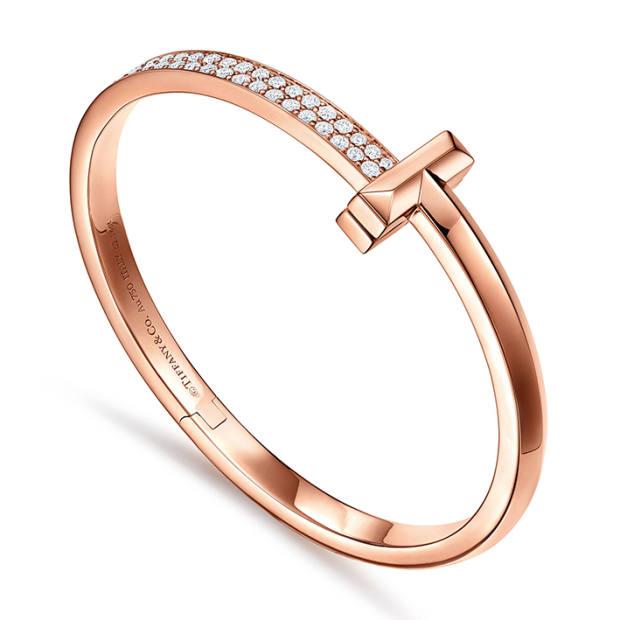 Tiffany & Co rose-gold and diamond T1 bangle, £15,700