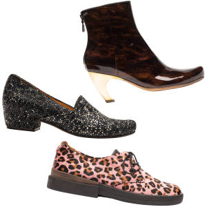 From top: Tracey Neuls patent-leather King ankle boot, £450; leather Ray shoe, £395; and leopard-print ponyskin Powell shoe, £295
