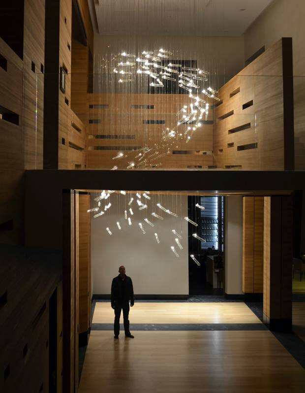 The interactive Flylight by Studio Drift, about €55,000, at a Moscow residence.