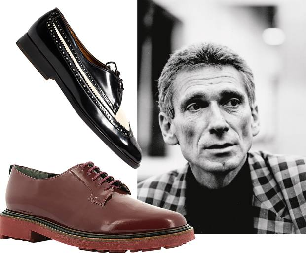 Robert Clergerie leather Jonko Derby shoes, £390, with their 1980s precursors. Clergerie made his name by introducing brogues for women