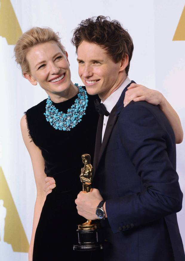 The 2015 Oscars, with Cate Blanchett in a Tiffany & Co turquoise and aqua necklace, and Eddie Redmayne in a Chopard watch