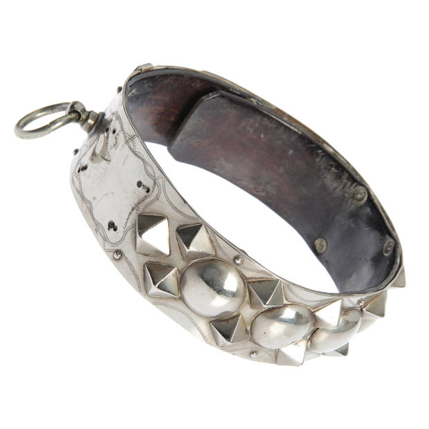 1850s silver-plate and leather collar, about £1,099, from DR 2 at 1stdibs