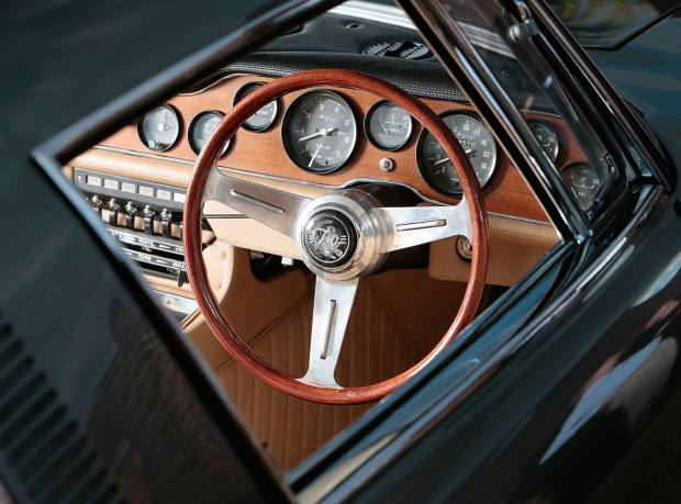 The dashboard and steering wheel of Zak Dhabalia's 1967 Iso Grifo 5.4-litre coupé