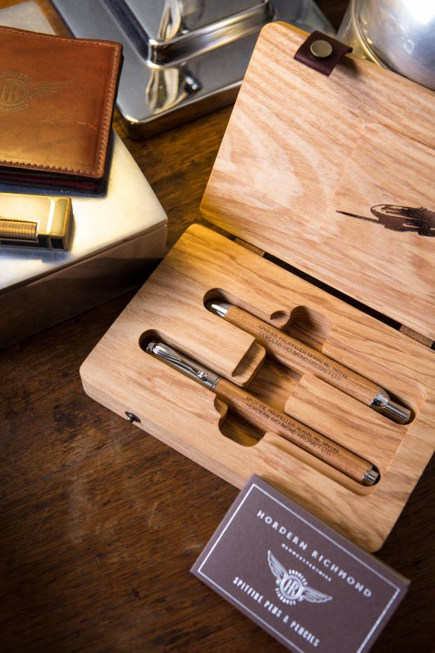 A pen-and-pencil pair comes in an ash presentation box, £340