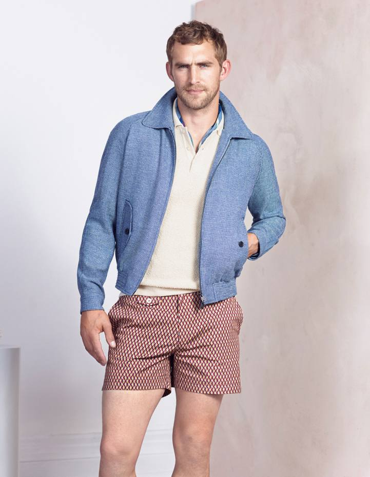 Dunhill wool/silk/linen blouson, £970, silk polo shirt, £675, and cotton swim shorts, £275