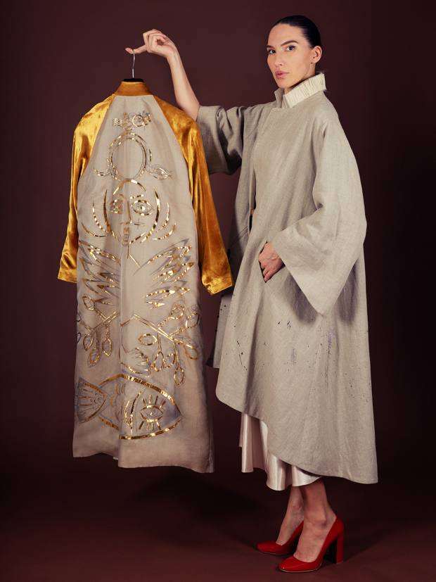 Aigana Gali with the Hero coat, from £2,000, embellished with gold-leaf mosaic