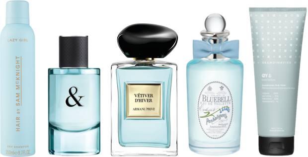 From left: Sam McKnightLazy Girl dry shampoo, £19for250ml. Tiffany & Love perfume,£75 for 50ml EDP, johnlewis.com. ArmaniPrivé Vétiver d'Hiver, £137 for 100ml EDT. Penhaligon's Bluebell, £110 for 100mlEDT. Skandinavisk Oy body wash, £18 for 225m