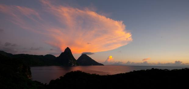 A shot of St Lucia's two mountainous volcanic plugs, the Pitons