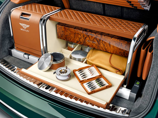 A Bentley kitted out with fly-fishing accessories by the marque's Mulliner bespoke division