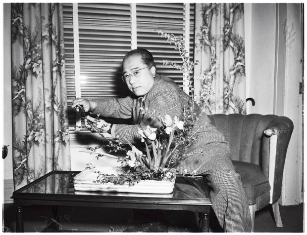 Sculptor Sofu Teshigahara, who founded Japan's famous Sogetsu School of Ikebana flower arranging