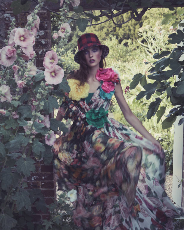 Dolce & Gabbana silk-chiffon dress, price on request, and silk-tulle tights, £160. Dior cotton and polyester hat, £640. VV Rouleaux silk flowers, from £49
