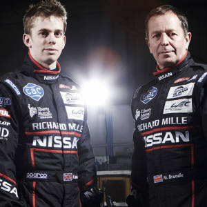Lucas Ordóñez, Alex Brundle and Martin Brundle with their Greaves Motorsport Zytek Nissan LMP2 car at the Zytek factory in Repton, Derbyshire