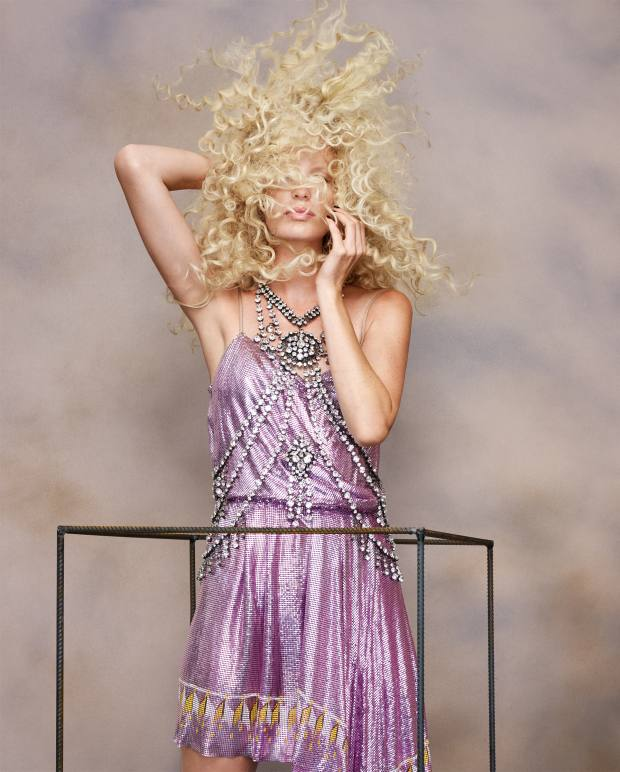 Gucci handpainted metallic mesh dress, £7,050, and metal, palladium and crystal body accessory, £5,310