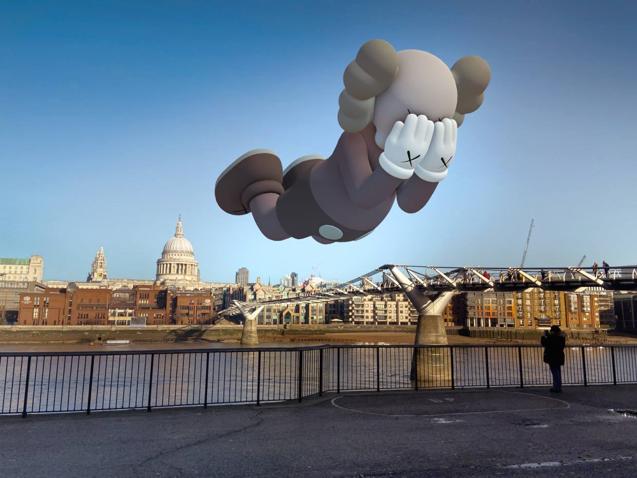 KAWS, Companion (Expanded) in London, 2020, augmented reality