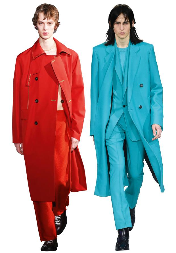 From left: Acne Studios cotton/polyester coat, £700. Paul Smith double-breasted wool coat, from £1,260