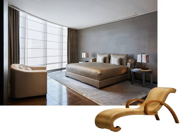 Left: a room at the Armani Hotel in the Burj Khalifa, Dubai. Right: Armani Casa lizard-effect-leather Borromini chaise longue, £12,510