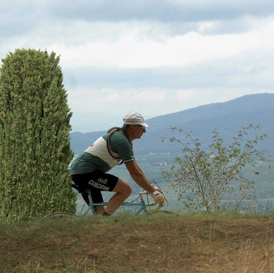 Cycling through the Tuscan hills as part of L'Eroica